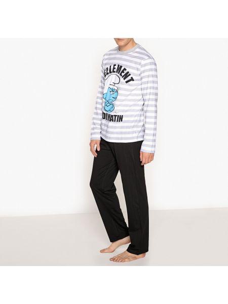 Пижама в полоску с рисунком Schtroumpfs