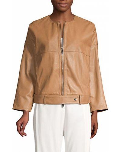 Кожаная длинная куртка с карманами свободного кроя Peserico