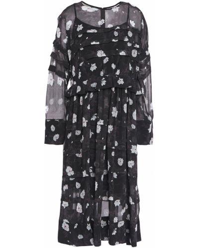 Платье миди с принтом - черное Carven