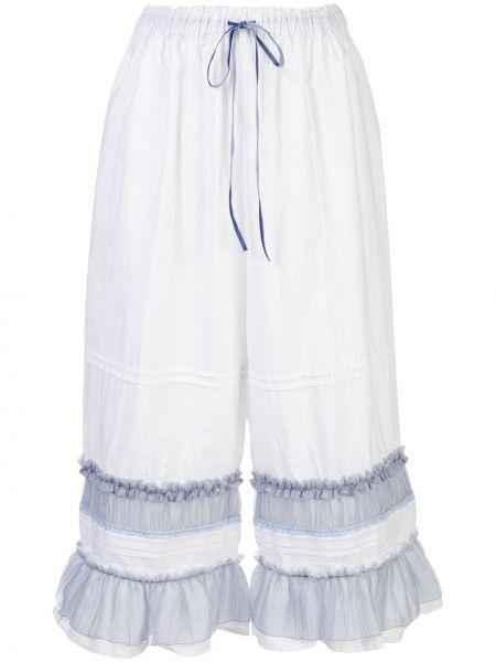 Белые укороченные брюки с поясом из вискозы с оборками Renli Su