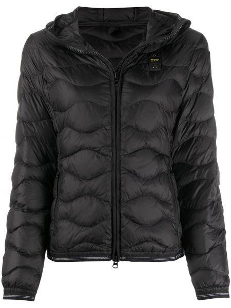 Прямая черная облегченная куртка с капюшоном с перьями Blauer