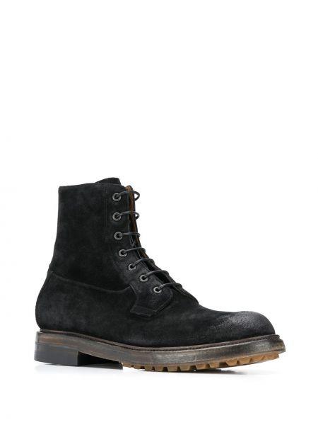 Кожаные черные ботинки на шнуровке Silvano Sassetti
