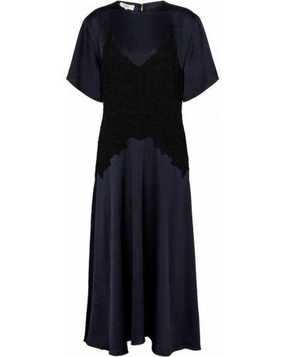 Сатиновое кружевное черное платье миди Vince.