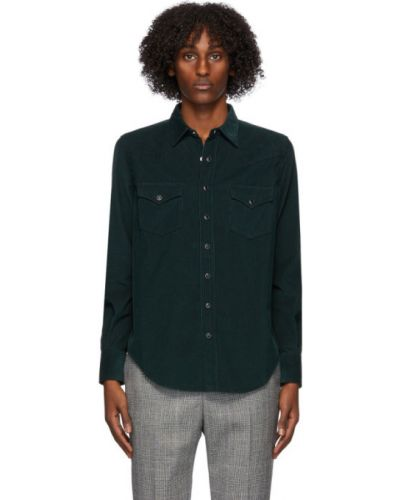 Czarny klasyczna koszula z kołnierzem spodnie sztruksowe z kieszeniami Saint Laurent