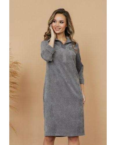Прямое с рукавами платье-рубашка с поясом Ellcora