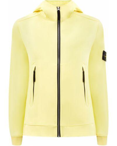 Желтая куртка с капюшоном софтшелл Stone Island