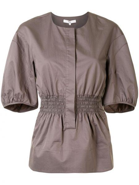 Коричневая приталенная блузка с оборками с круглым вырезом Tibi