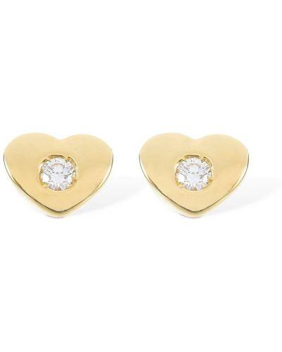 Żółte złote kolczyki sztyfty z diamentem Vanzi