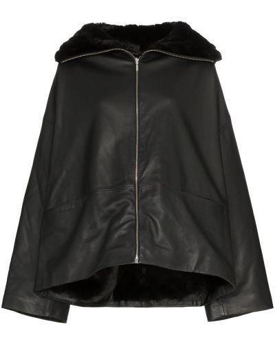 Черная длинная куртка байкерская круглая Toteme