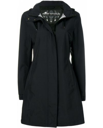 Черное длинное пальто с капюшоном Moose Knuckles
