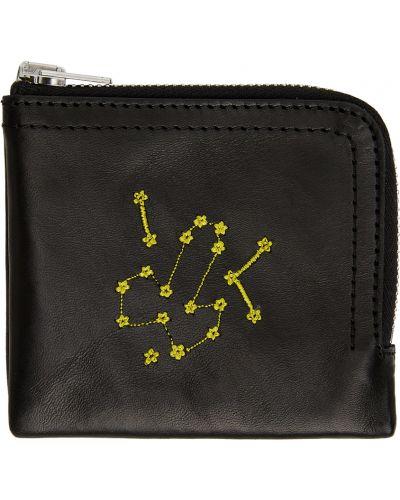 Czarny portfel skórzany z haftem Carne Bollente