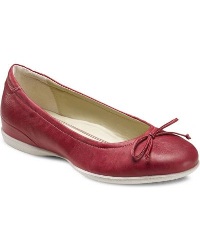 Балетки на каблуке красный Ecco