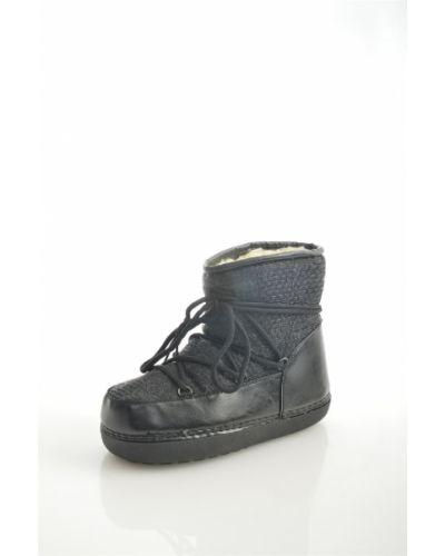 Черные луноходы из искусственного меха на шнурках Exquily