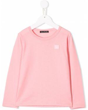 Różowy t-shirt z długimi rękawami bawełniany Acne Studios Kids