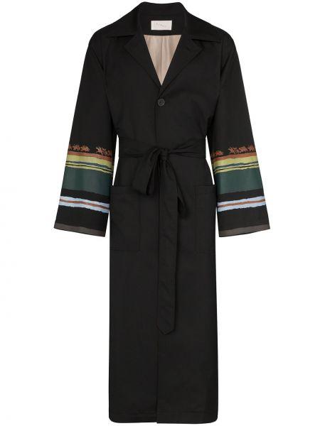Czarny płaszcz wełniany z paskiem Linder