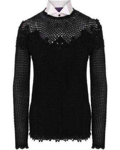 Пуловер с воротником - черный Ralph Lauren