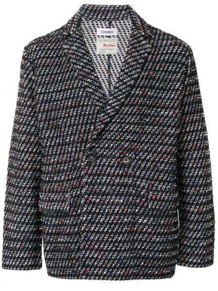 Шерстяной черный пиджак на пуговицах с лацканами Coohem
