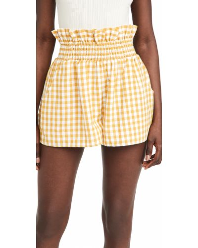 Желтые хлопковые шорты с карманами English Factory