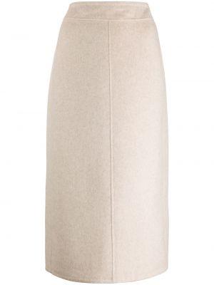 Шерстяная с завышенной талией бежевая юбка миди Vince.