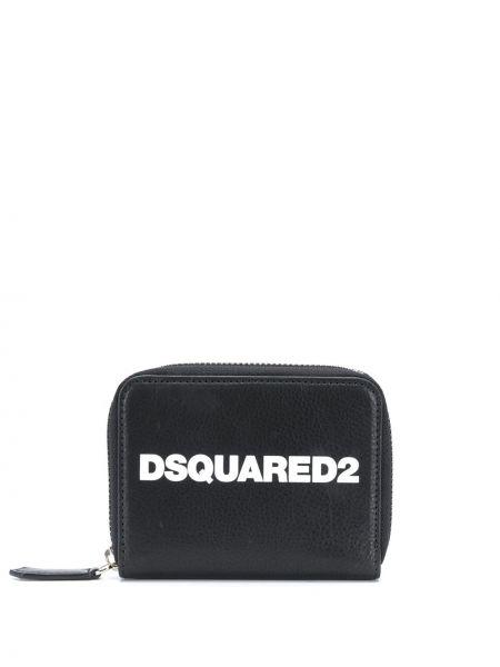 Czarny portfel z prawdziwej skóry z gniazdem Dsquared2
