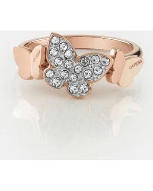 Różowy złoty pierścionek Guess