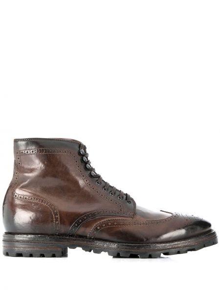 Koronkowa buty skórzane zasznurować z prawdziwej skóry okrągły nos Officine Creative