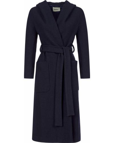Синее шерстяное пальто с капюшоном Beatrice.b