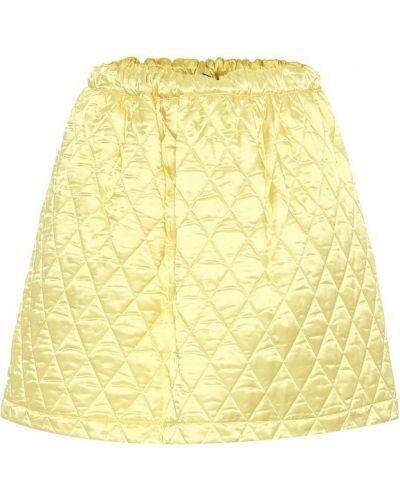 Żółta spódnica mini pikowana bawełniana Plan C
