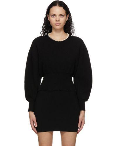 Черный шерстяной длинный свитер с воротником Alexander Wang