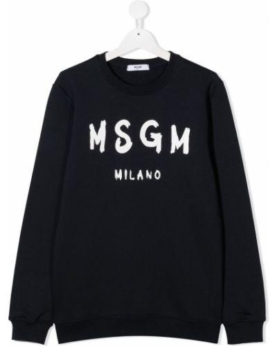 Czarny bluza z długimi rękawami z mankietami okrągły Msgm Kids
