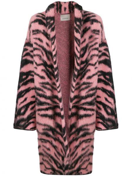 Шерстяное розовое длинное пальто Laneus