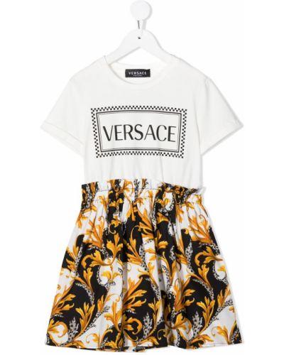 Biała sukienka mini krótki rękaw bawełniana Young Versace