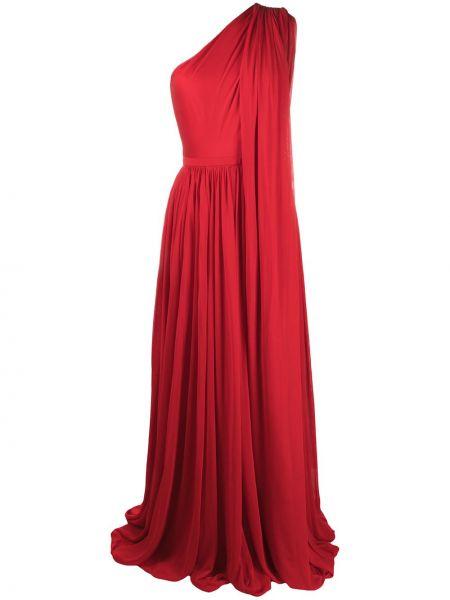 Красное платье макси на одно плечо с драпировкой Alexander Mcqueen