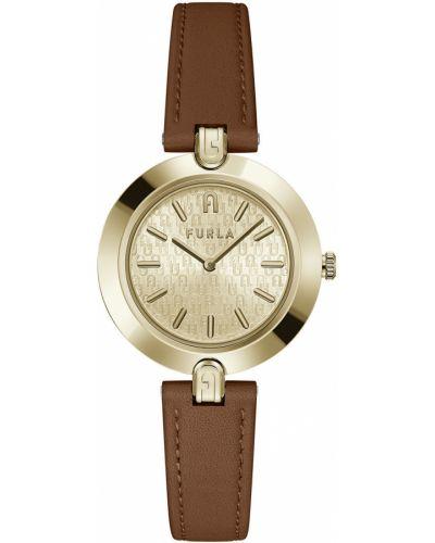 Brązowy zegarek kwarcowy skórzany z paskiem Furla