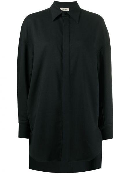 Черная классическая рубашка с воротником оверсайз на пуговицах Barena