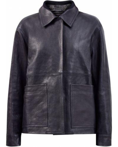 Черная кожаная куртка с воротником Lorena Antoniazzi