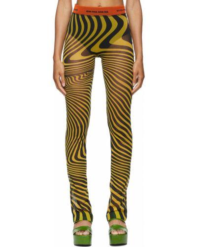 Czarne spodnie w paski Jean Paul Gaultier