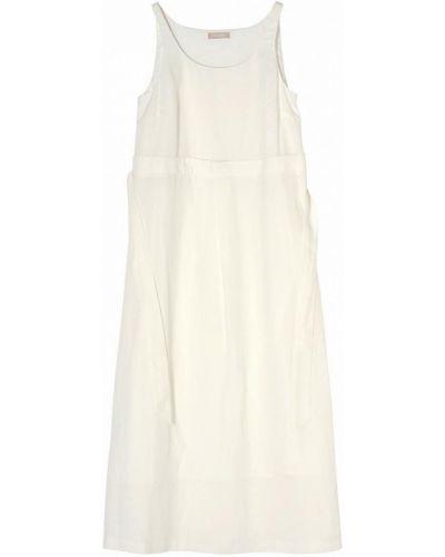 Молочное платье миди с поясом без рукавов Stefanel