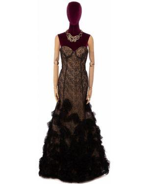 Платье макси в рубчик Oscar De La Renta