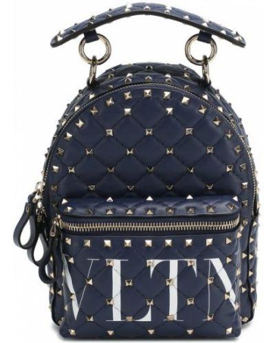 Кожаный рюкзак темно-синий маленький Valentino