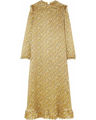 Satynowa sukienka midi z printem Horror Vacui