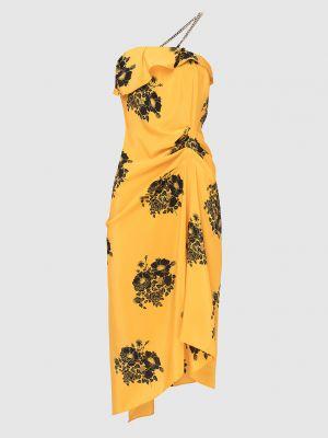 Шелковое платье миди - желтое N°21
