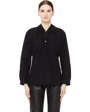 Блузка с длинным рукавом кружевная черная Blackyoto