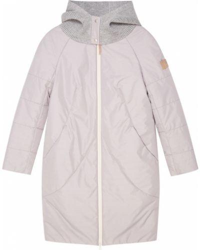 Пальто с капюшоном вязаное стеганое Novaya