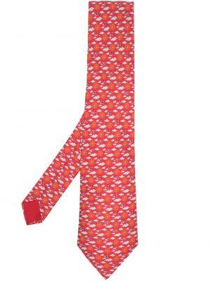 Krawat z printem - biały Hermes