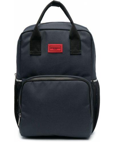 Niebieski plecak bawełniany Emporio Armani Kids