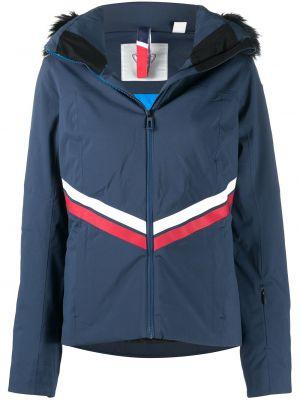 Синяя куртка горнолыжная с капюшоном из искусственного меха Rossignol