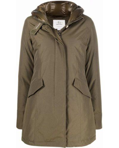 Зеленое пальто классическое Woolrich