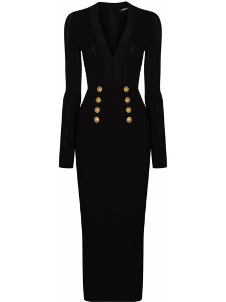 Złota czarna sukienka midi z długimi rękawami Balmain