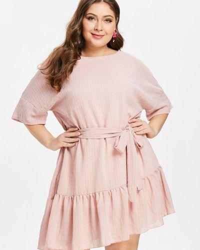 Платье с поясом розовое с оборками Zaful